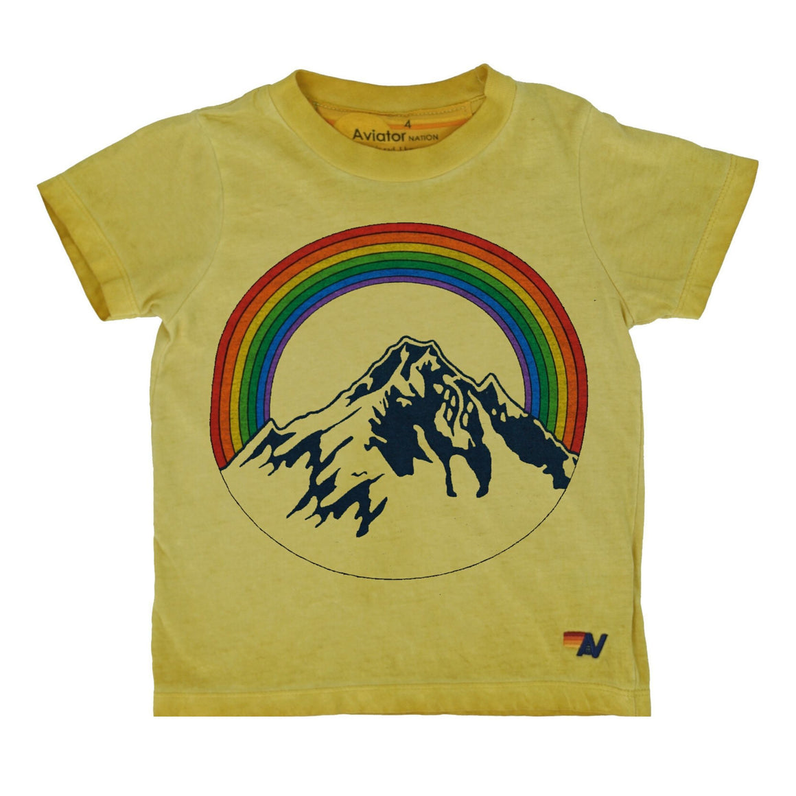 Aviator Nation - Kid's Mountain Rainbow Tee- Vintage Gold Nugget Short Sleeve Shirts Aviator Nation