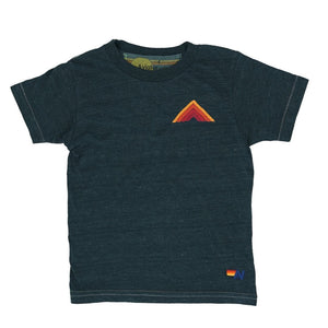 Aviator Nation - Kid's Mountain Stripe Tee - Charcoal / Red Stripes Short Sleeve Shirts Aviator Nation