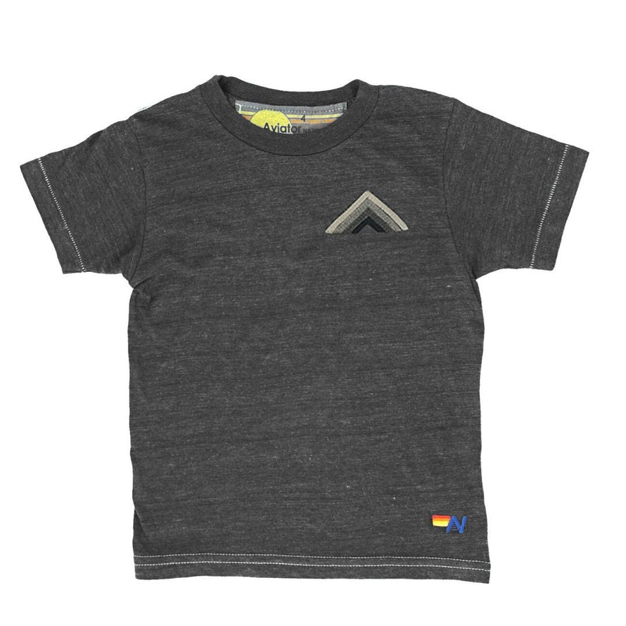 Aviator Nation - Kid's Mountain Stripe Tee - Grey / Grey Stripes Short Sleeve Shirts Aviator Nation