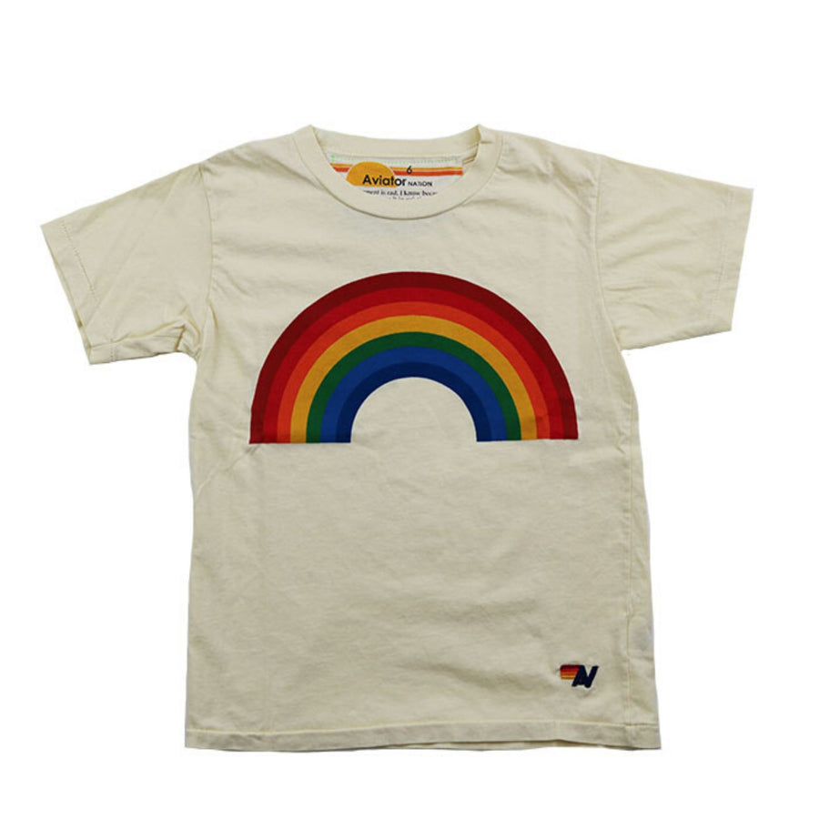 Aviator Nation - Kid's Rainbow Tee - Vintage White Short Sleeve Shirts Aviator Nation