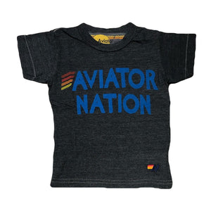 Aviator Nation Kid's Royal Blue Logo Tee - Charcoal Short Sleeve Shirts Aviator Nation