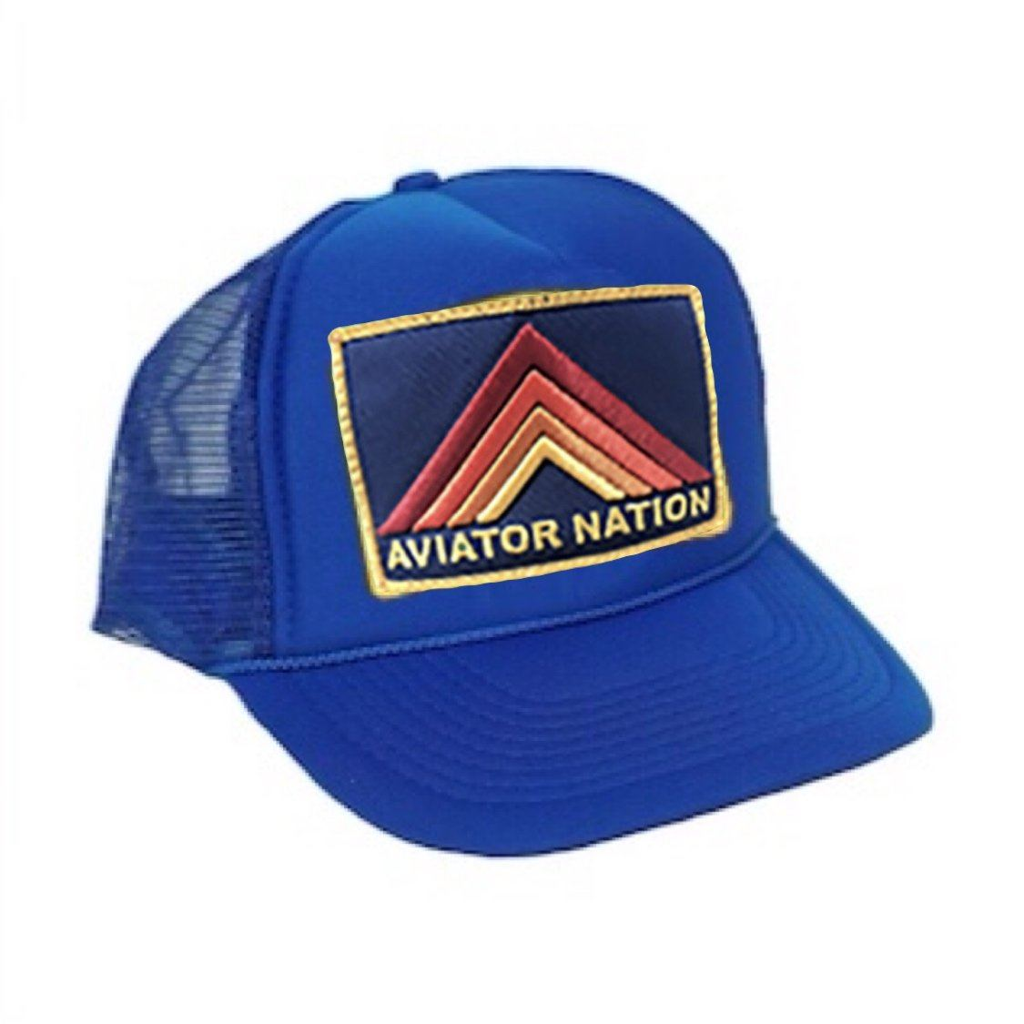 Aviator Nation - Kids Royal Blue Mountain Stripe Vintage Trucker Hat hat Aviator Nation