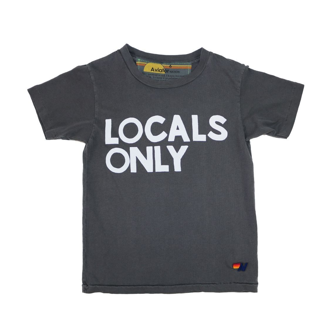 Aviator Nation - Kid's Vintage Charcoal Locals Only Tee Short Sleeve Shirts Aviator Nation