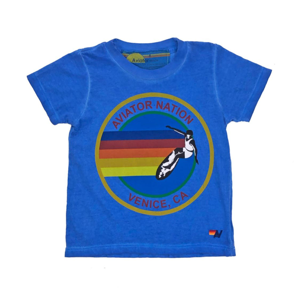 Aviator Nation - Kid's Vintage Venice Royal Blue Tee Short Sleeve Shirts Aviator Nation