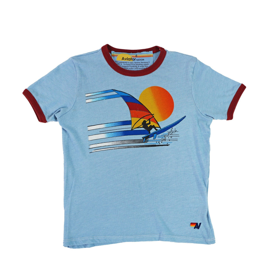 Aviator Nation - Kid's Windsurf Jump Ringer Tee - Baby Blue / Red Short Sleeve Shirts Aviator Nation