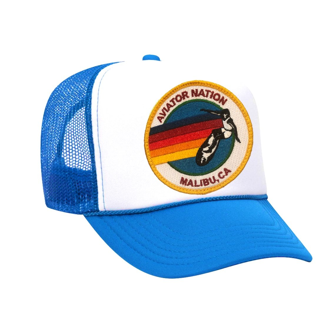 Aviator Nation - Neon Blue / White Malibu Adult Vintage Trucker Hat hat Aviator Nation
