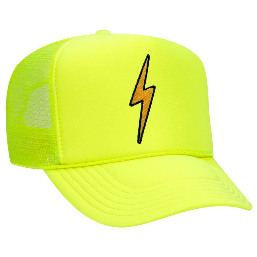Aviator Nation - Neon Yellow Vintage Bolt Adult Trucker Hat hat Aviator Nation