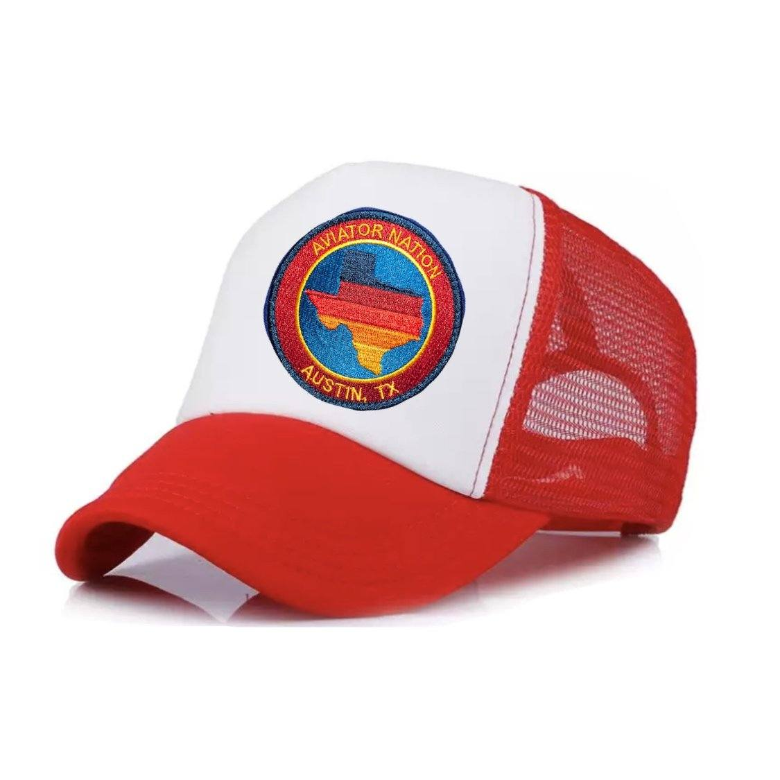 Aviator Nation - Red and White Austin Texas Kids Vintage Trucker Hat hat Aviator Nation
