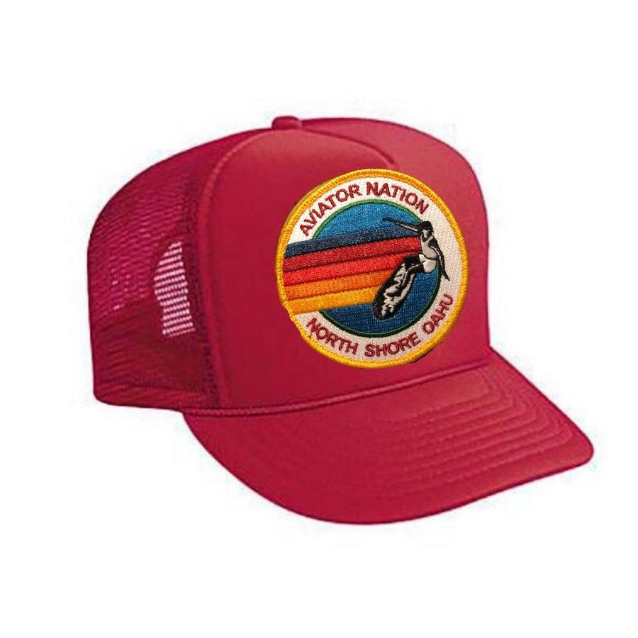 Aviator Nation - Red North Shore Oahu Kids Vintage Trucker Hat hat Aviator Nation