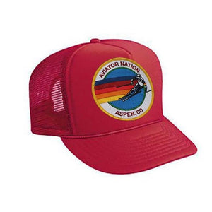 Aviator Nation - Red Signature Aspen Kids Vintage Trucker Hat hat Aviator Nation