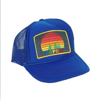 Aviator Nation - Royal Blue Aspen Sunset Kids Vintage Trucker Hat hat Aviator Nation