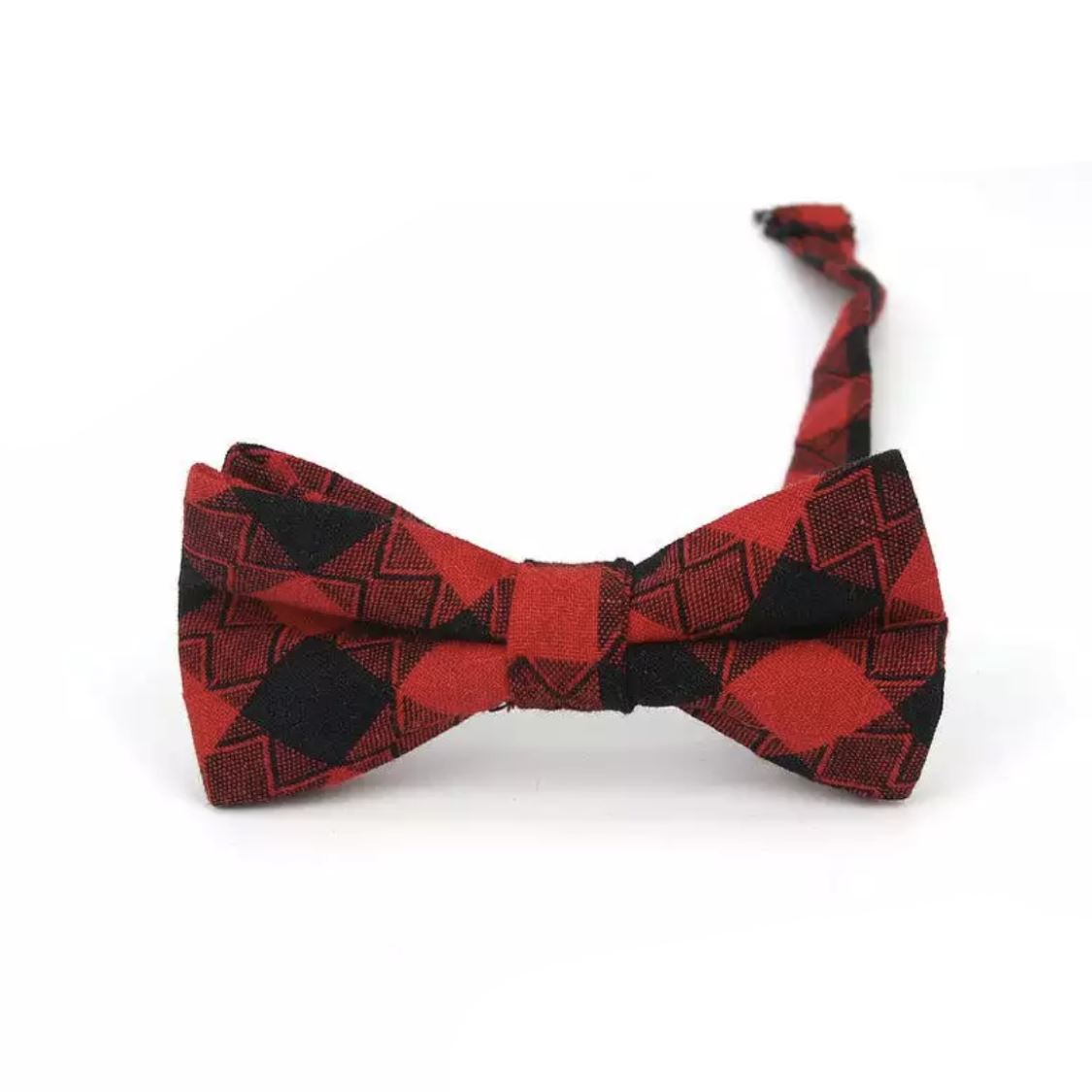 Baby & Kids Red & Black Plaid Bowtie (6 Months - 12 Years) Bowtie Tiny Trendsetter