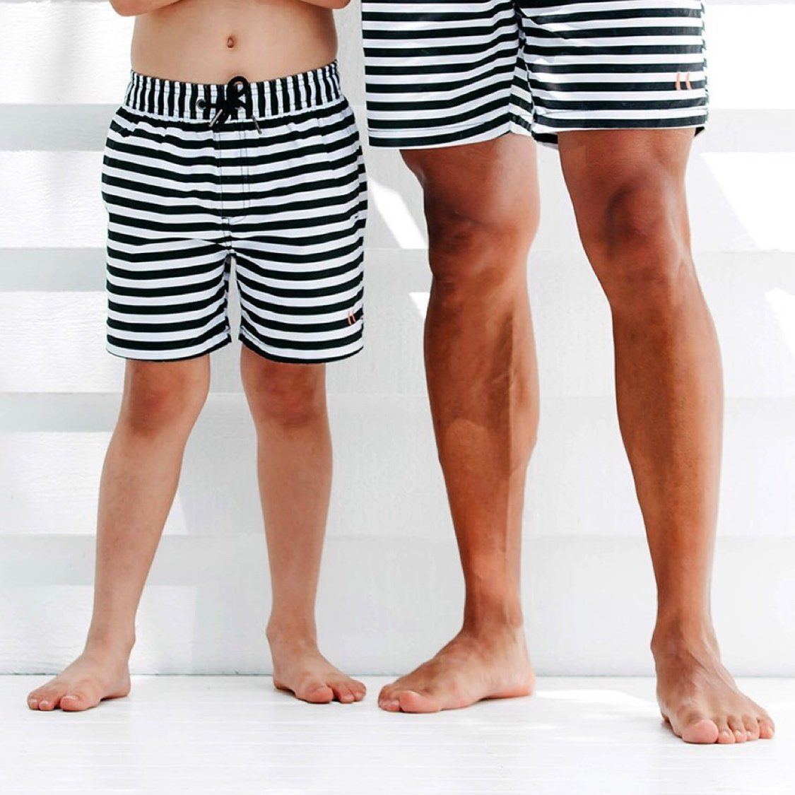Beau Hudson - Mens and Boys Black and White Stripe Swim Shorts Swimwear Beau Hudson