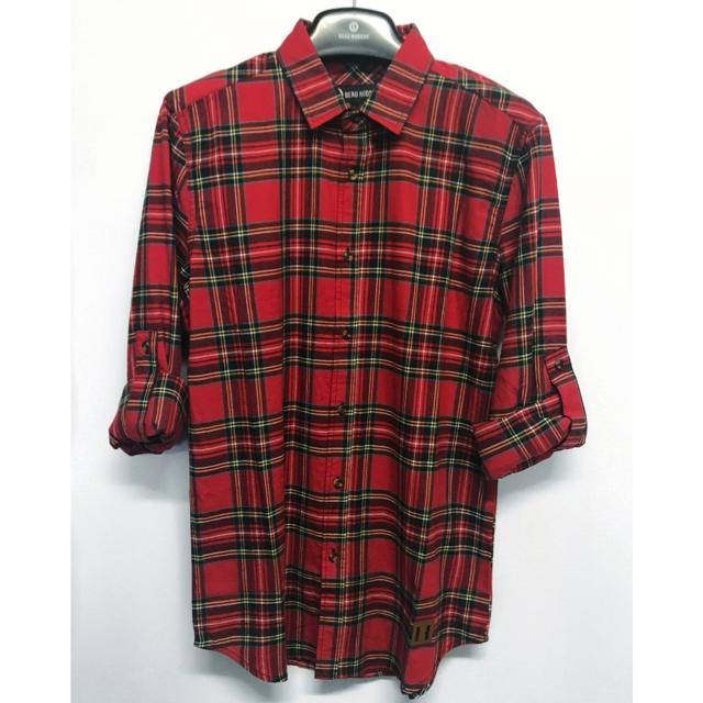 Beau Hudson - Red Tartan Unisex Adult Shirt (XS) Long Sleeve Shirts Beau Hudson