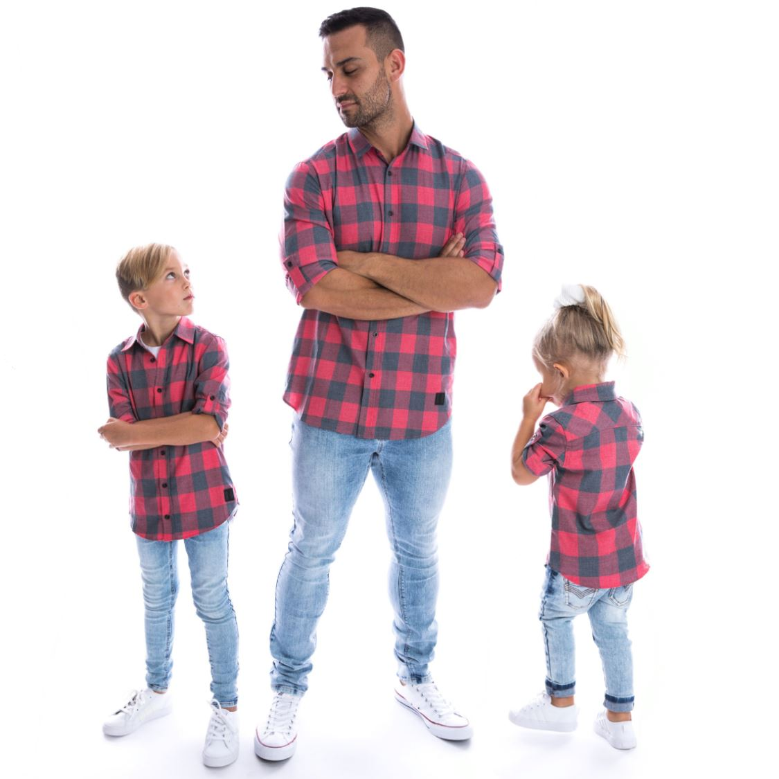 Beau Hudson - Unisex Red and Black Faded Buffalo Shirt (Kids & Adults) Dress Beau Hudson