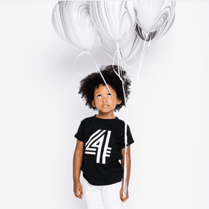 Birthday - Bold Number 4 Tee! Short Sleeve Shirts Little Babe Designs