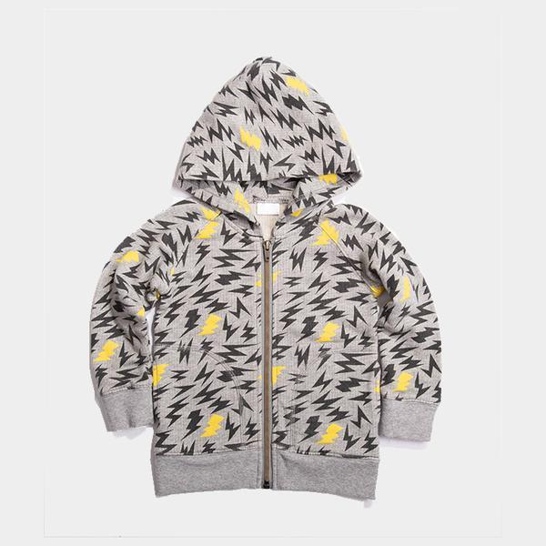 Bitz Kids - Grey Printed Lightening Bolt Zip Up Hoodie Sweatshirt BItz Kids
