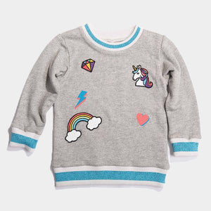 Bitz Kids - Grey Unicorn & Rainbow Patched Sweatshirt Sweatshirt BItz Kids