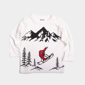 Bitz Kids - Offwhite Snowboard Graphic Long Sleeve Tee Long Sleeve Shirt BItz Kids