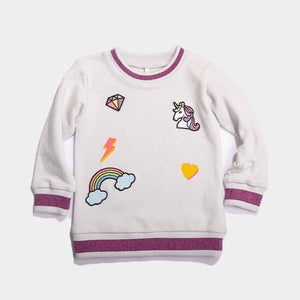 Bitz Kids - Offwhite Unicorn & Rainbow Patched Sweatshirt Sweatshirt BItz Kids