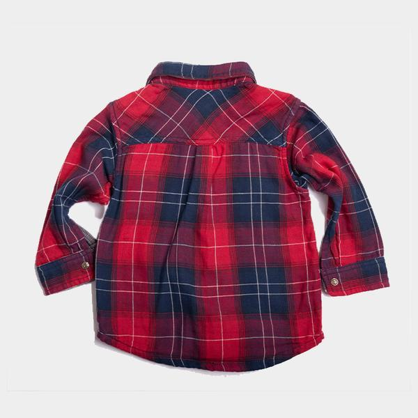 Bitz Kids - Red Reversible Plaid Long Sleeve Shirt Long Sleeve Shirt BItz Kids