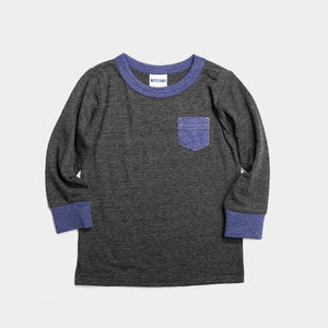 Bitz Kids - Solid Charcoal Pocket Long Sleeve Tee Long Sleeve Shirt BItz Kids
