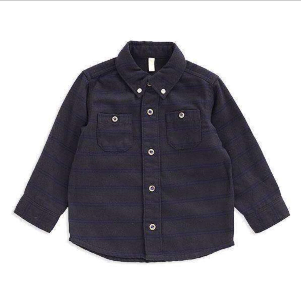Bitz Kids - Striped Charcoal Flannel Button Down Boys Shirt Long Sleeve Shirts BItz Kids
