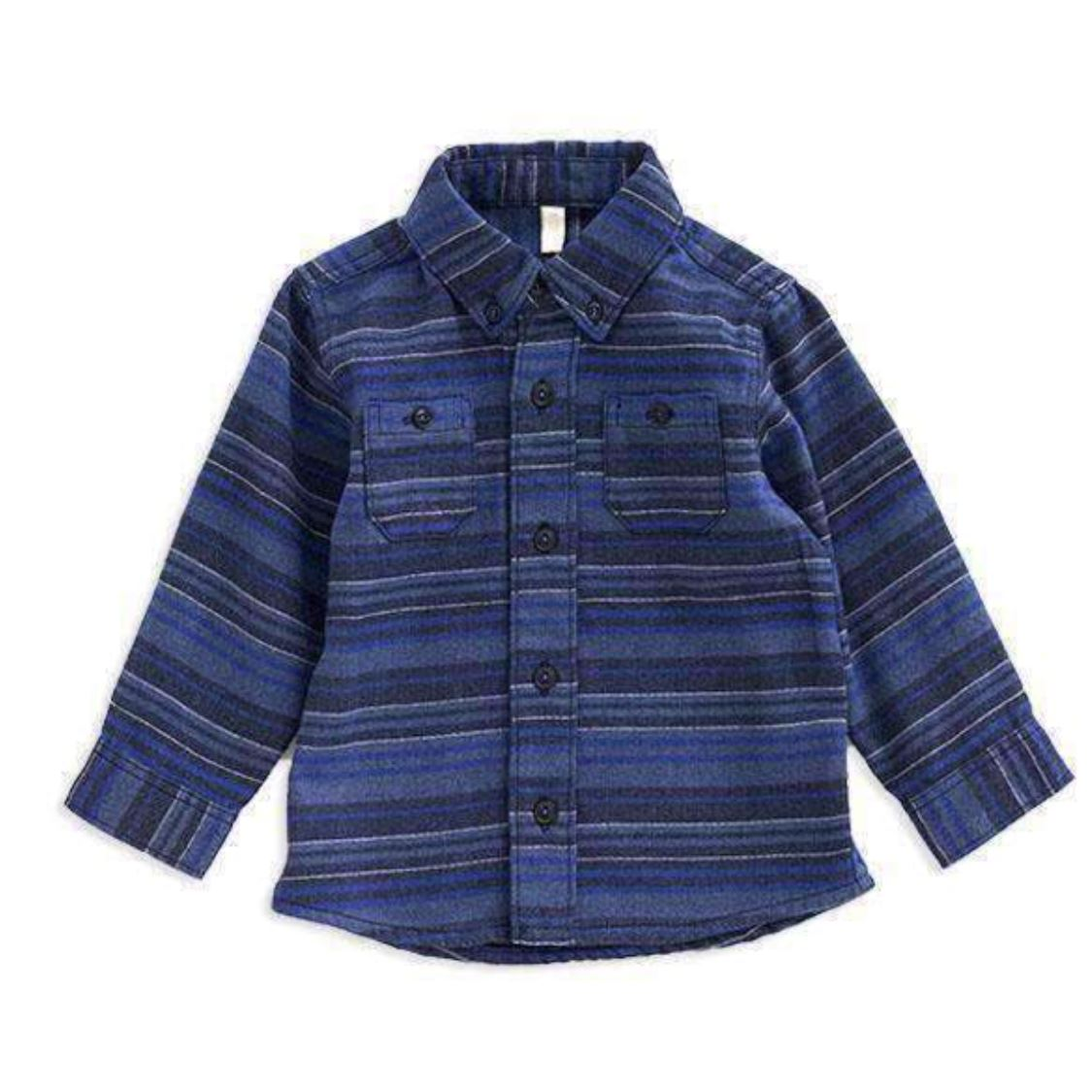 Bitz Kids - Striped Navy Blue Flannel Button Down Boys Shirt Long Sleeve Shirts BItz Kids