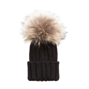 Black Pom Pom Hat (Baby - Adult) Winter Hat Tiny Trendsetter 4-10 Years