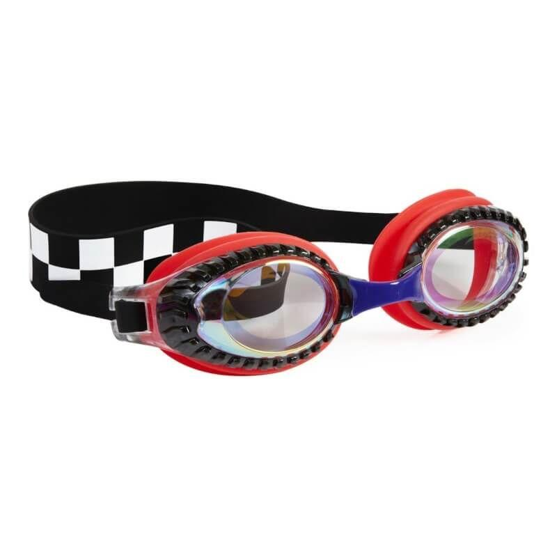 Bling2O - Drag Race Swim Goggles - Chevy Red Checkerboard Swim Goggles Bling2O