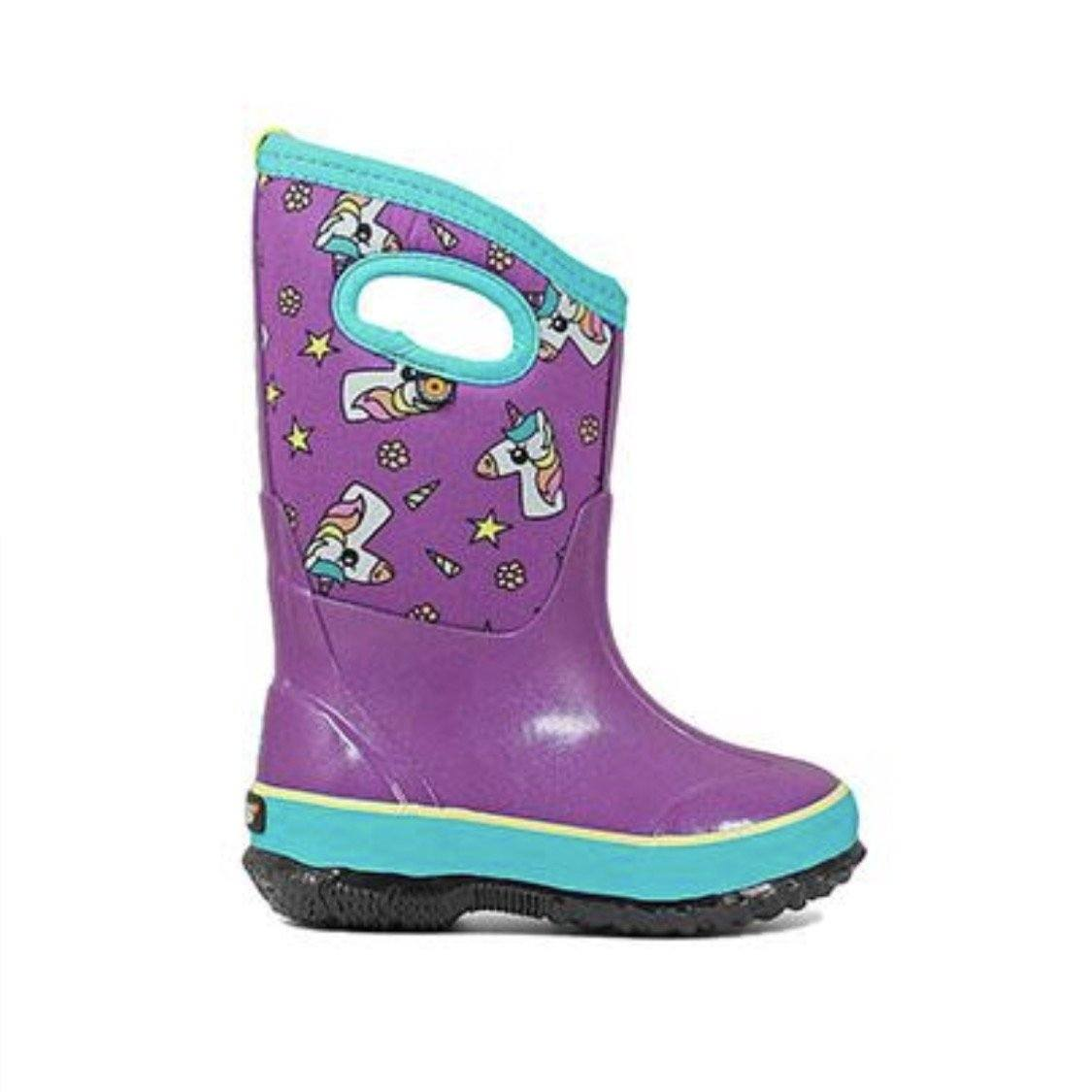 BOGS 72497-540 - Classic Handles Unicorn Print Kids' Insulated Boots (Toddler 7 - Youth 2) Footwear Bogs