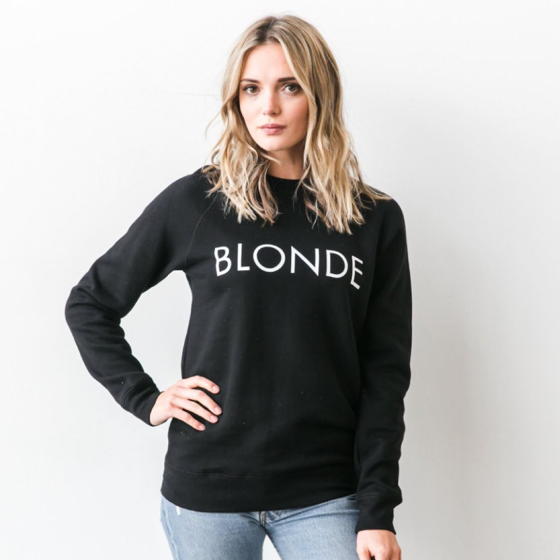 Brunette the Label - Blonde Black Crewneck Sweatshirt Sweatshirt Brunette the Label