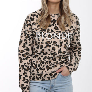 Brunette the Label - Blonde Leopard Middle Sister Crewneck Sweatshirt Sweatshirt Brunette the Label