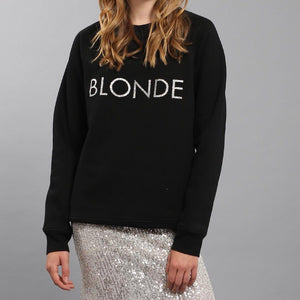 Brunette the Label - Blonde Silver Glitter Crewneck Sweatshirt Sweatshirt Brunette the Label