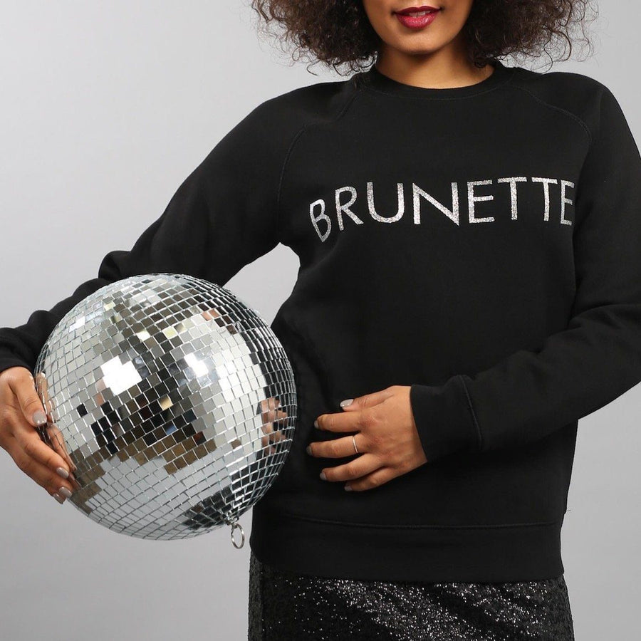 Brunette the Label - Brunette Silver Glitter Crewneck Sweatshirt Sweatshirt Brunette the Label