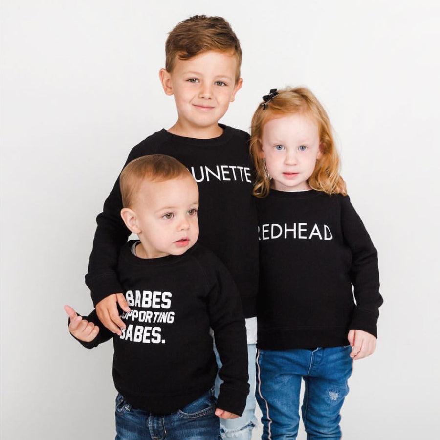 Brunette the Label - Little Babes BABES SUPPORTING BABES Black Crewneck Sweatshirt Sweatshirt Brunette the Label