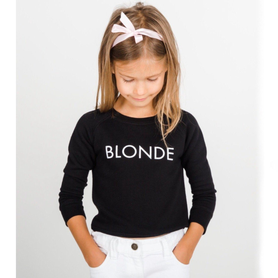 Brunette the Label - Little Babes BLONDE Black Crewneck Sweatshirt Sweatshirt Brunette the Label