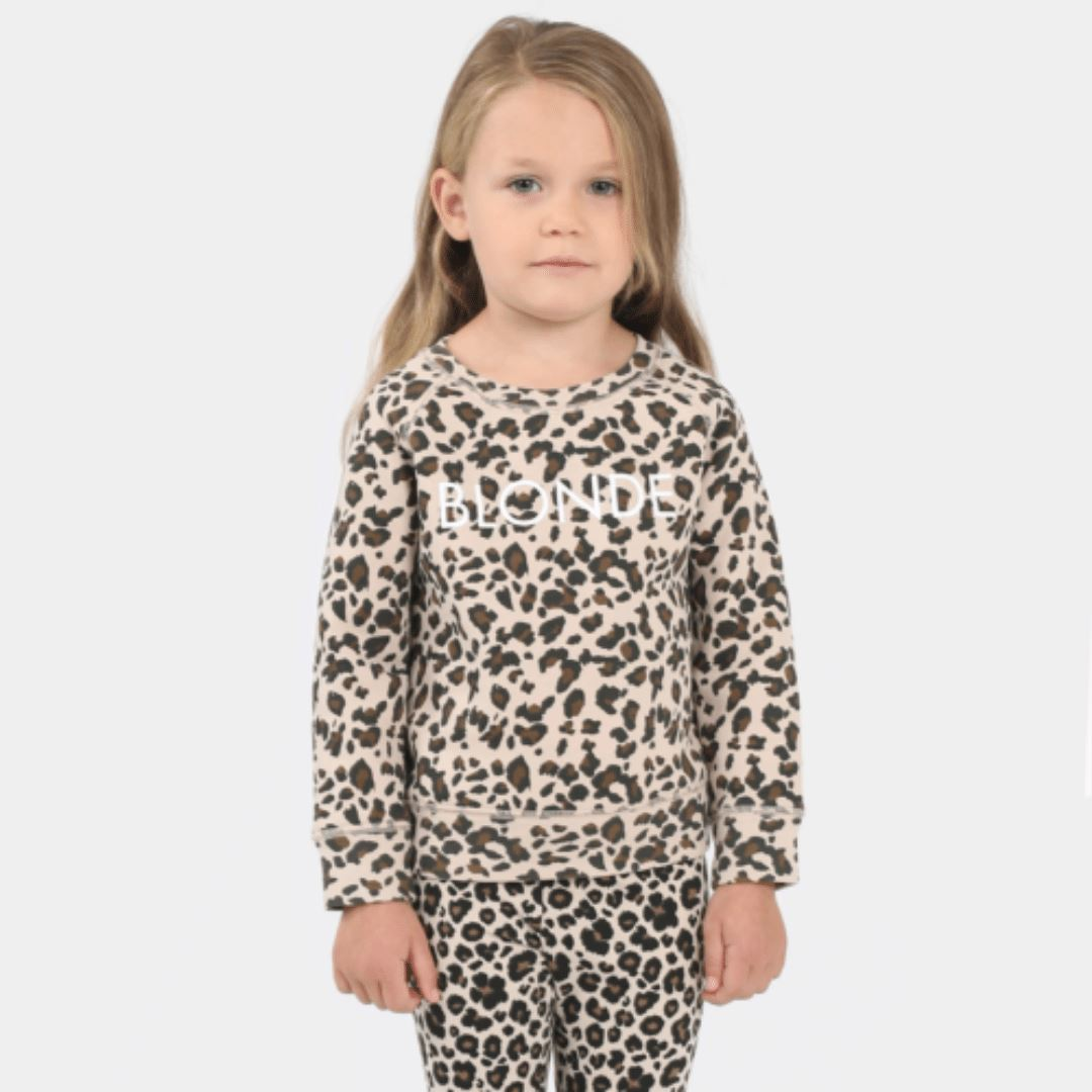 Brunette the Label - Little Babes Blonde Leopard Crewneck Sweatshirt Sweatshirt Brunette the Label