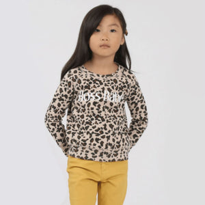 Brunette the Label - Little Babes BOSS BABE Leopard Crewneck Sweatshirt Sweatshirt Brunette the Label