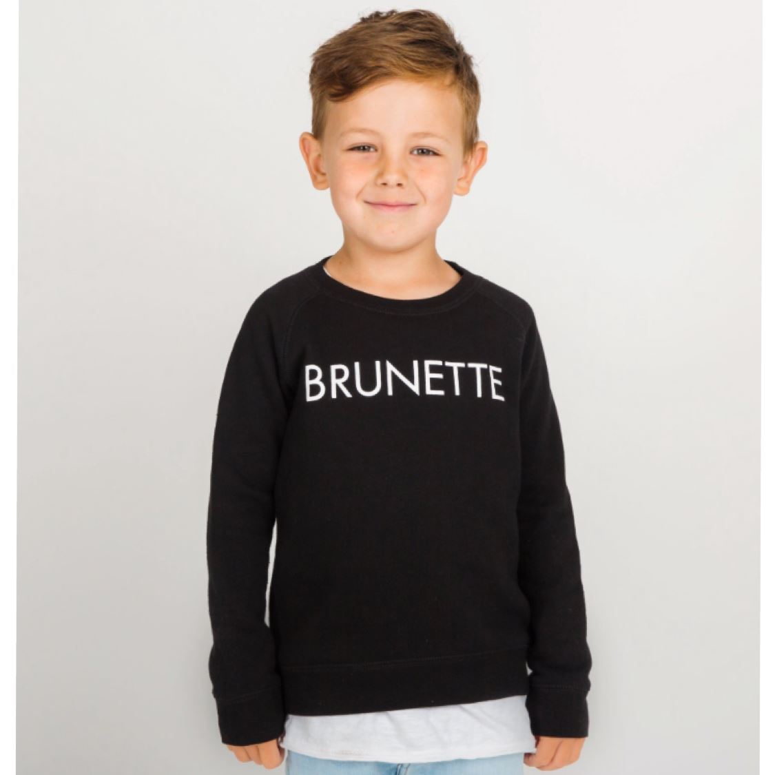 Brunette the Label - Little Babes BRUNETTE Black Crewneck Sweatshirt Sweatshirt Brunette the Label