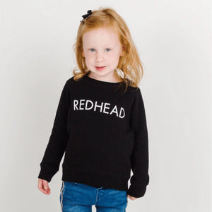 Brunette the Label - Little Babes REDHEAD Black Crewneck Sweatshirt Sweatshirt Brunette the Label