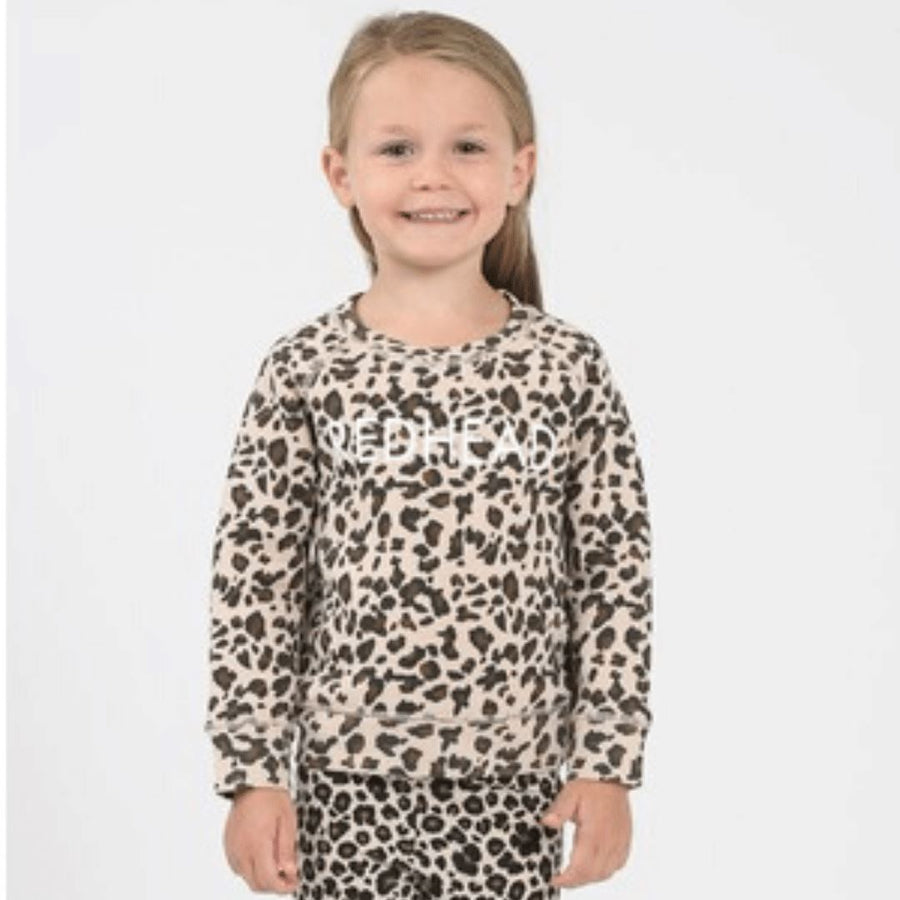 Brunette the Label - Little Babes Redhead Leopard Crewneck Sweatshirt Sweatshirt Brunette the Label