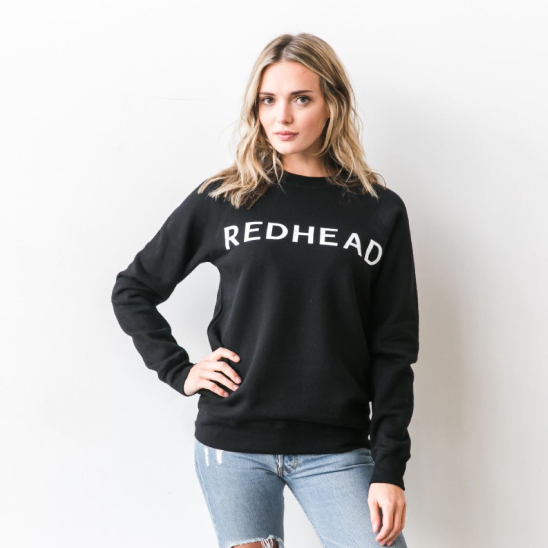 Brunette the Label - Redhead Black Crewneck Sweatshirt Sweatshirt Brunette the Label