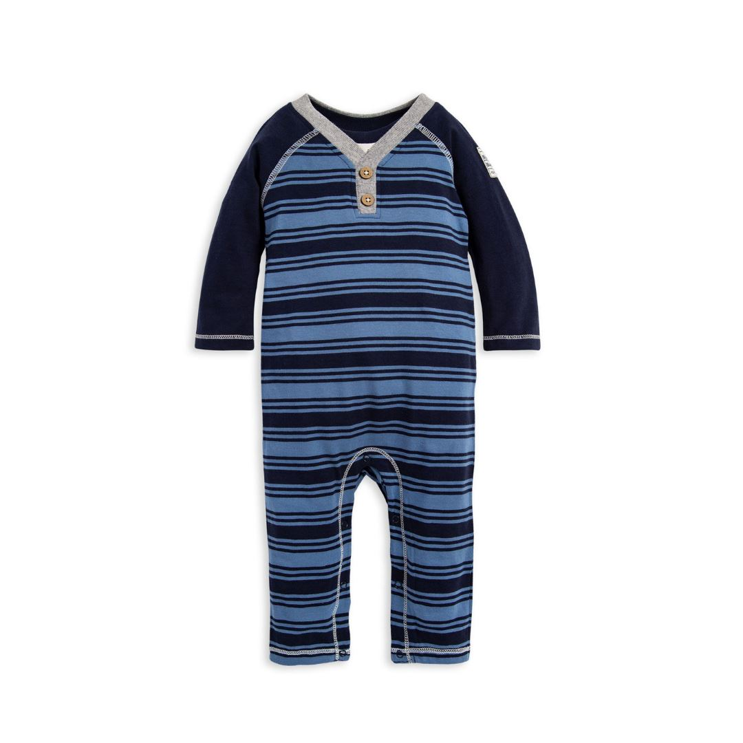 Burt's Bees Baby- Variegated Rugby Stripe Organic Baby Jumpsuit - Midnight Romper Burt's Bees Baby