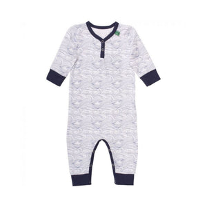 By Green Cotton - Navy Wave Print Organic Cotton Baby Romper Romper By Green Cotton