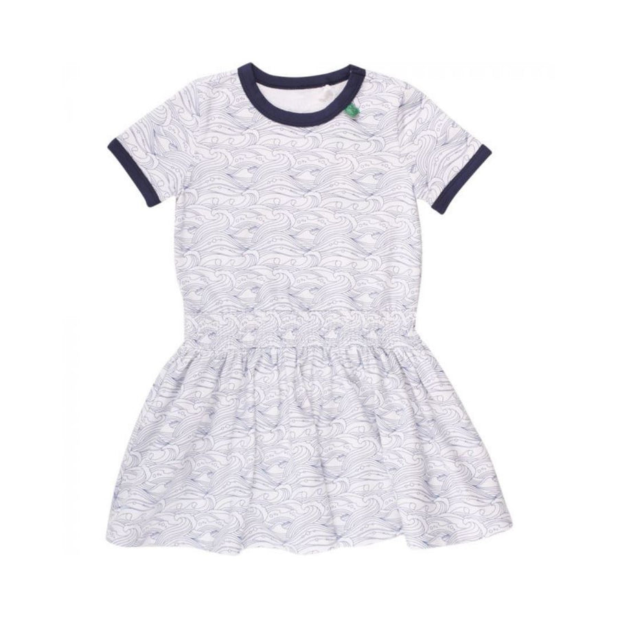 By Green Cotton - Organic Cotton Navy Wave Print Girls dress Dress By Green Cotton