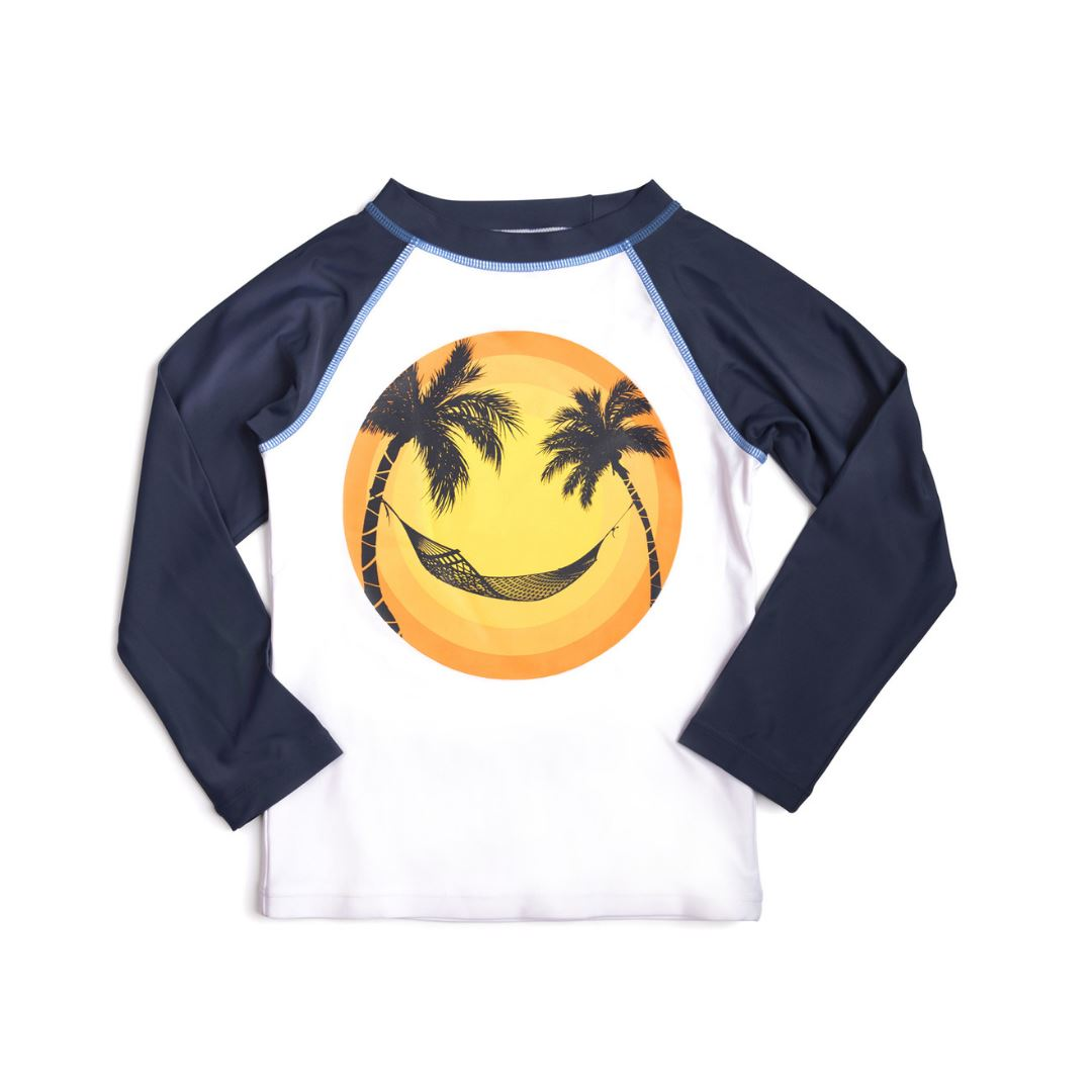 SwimZip Baby Girl Long Sleeve Rash Guard Set Navy Stripe Stunner 12-18 Month