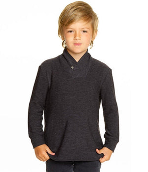 CB1086-BLK Chaser - Boys Black Cozy Knit Shawl Collar Pullover Sweatshirt Chaser