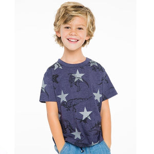 Chaser - Avalon Dinosaur Print Tee (10 & 12 Years) Short Sleeve Shirts Chaser