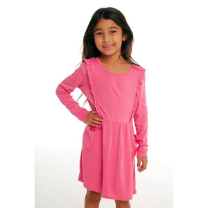 Chaser - Long Sleeve Grapefruit Girls Ruffle Dress With Pockets Dress Chaser